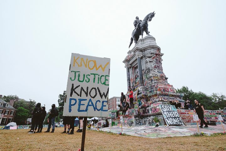Confederate monuments like this statue of Robert E. Lee, pictured in June 2020 in Richmond, Virginia, have become a political