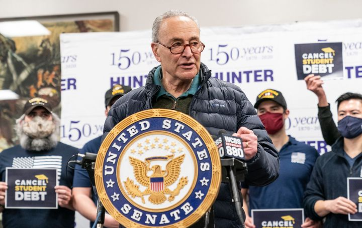 Senate Majority Leader Chuck Schumer (D-N.Y.) speaks at a news conference at Hunter College in New York City on federal propo