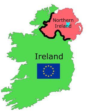 南北に分かれた、アイルランド島。赤い部分が北アイルランド