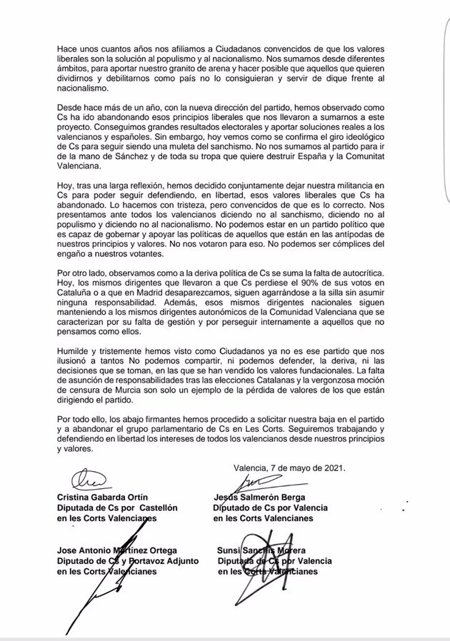 Carta de cuatro diputados de Ciudadanos que abandonan la