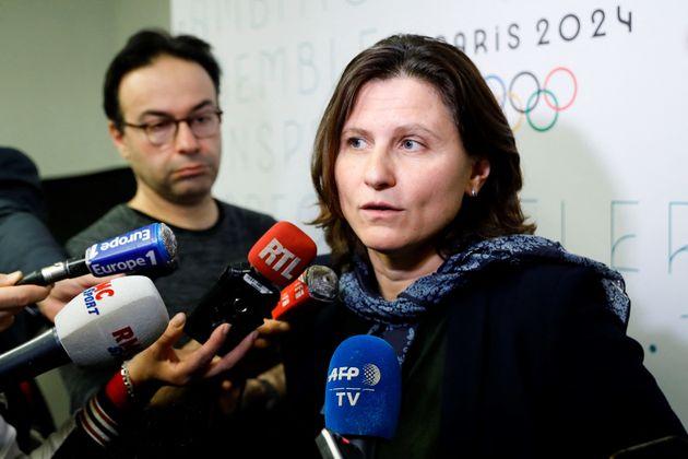 La ministre des Sports Roxana Maracineanu s'exprimait devant la presse le 12 décembre 2019 sur...