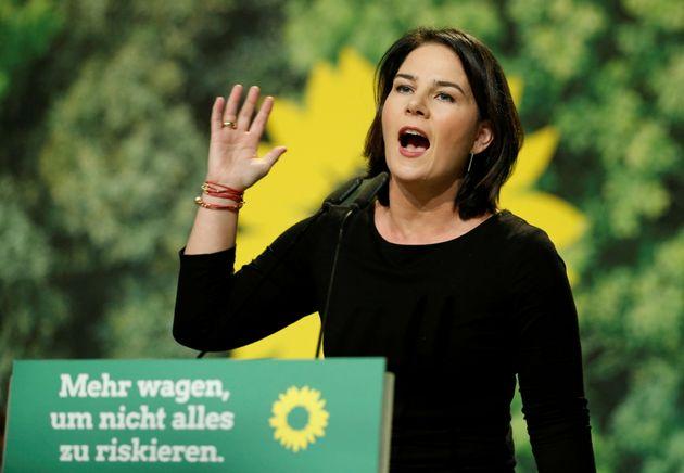 La líder de Los Verdes alemanes, Annalena Baerbock, durante un acto con su militancia
