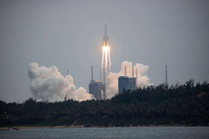 China's space agency has yet to say whether the main stage of the huge Long March 5B rocket is being controlled or will