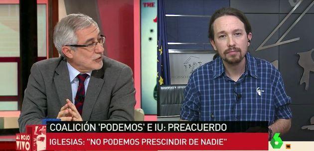 Gaspar Llamazares y Pablo Iglesias, en 'Al Rojo Vivo'