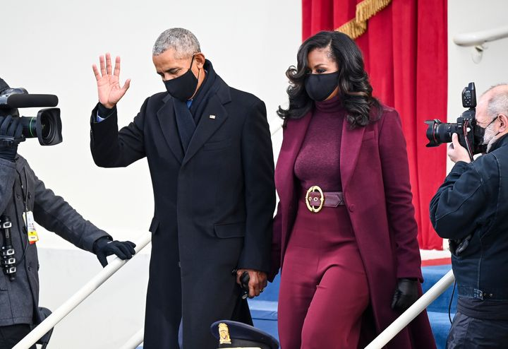 Former President Barack Obama and Michelle Obama arrive before Joe Biden is sworn in as 46th President of the United States on Jan. 20 in Washington, D.C.