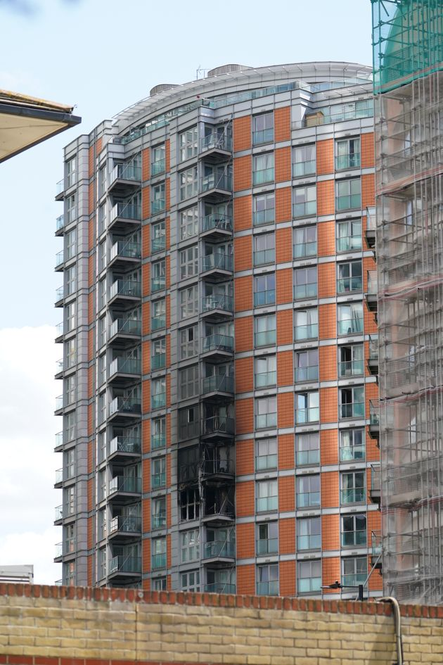 Damage to a 19-storey tower block in New Providence Wharf, east