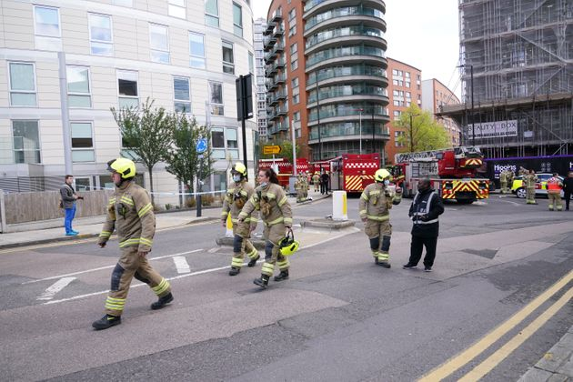 Firefighters at the scene in New Providence Wharf in