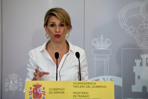 La ministra de Trabajo, Yolanda Díaz, en una rueda de