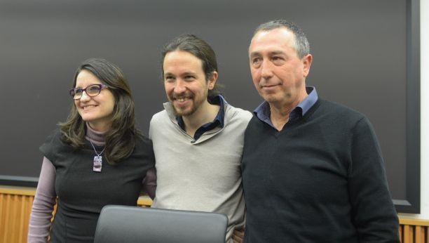 Mónica Oltra, Pablo Iglesias y Joan