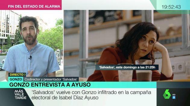 Gonzo habla con Mamen Mendizábal en 'Más Vale Tarde' del 'Salvados' con