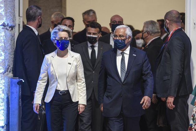 PORTO, PORTUGAL - MAY 07: President of the European Commission Ursula von der Leyen (L) and Prime Minister...