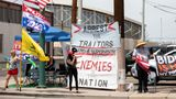 PHOENIX, AZ - MAY 01: Protestors in support of former President Donald Trump gather outside Veterans Memorial Coliseum where Ballots from the 2020 general election wait to be counted on May 1, 2021 in Phoenix, Arizona. The Maricopa County ballot recount comes after two election audits found no evidence of widespread fraud in Arizona.  (Photo by Courtney Pedroza/Getty Images)