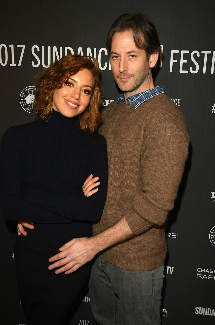 """Aubrey Plaza and Jeff Baena attend """"The Little Hours"""" premiere in 2017."""