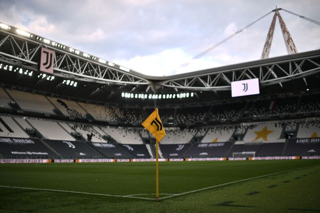 A view shows the logo of the Juventus Italian Serie A football club on April 21, 2021 at the Juventus...