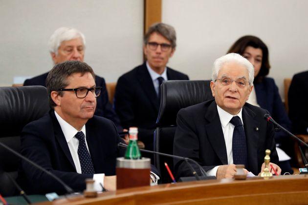 The President of the Italian Republic Sergio Mattarella and italian politician David Ermini at the CSM...