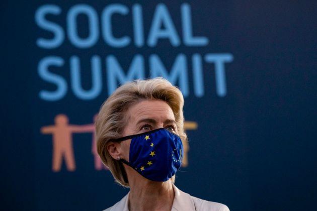 La presidenta de la Comisión Europea, Ursula Von der Leyen, en el Consejo Social de