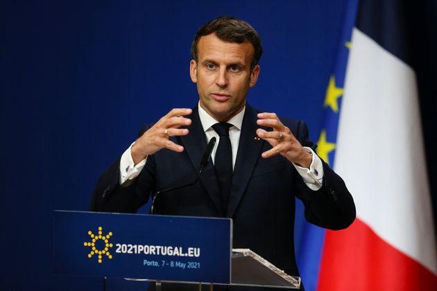 Emmanuel Macron lors d'une conférence de presse à Porto, le 8 mai