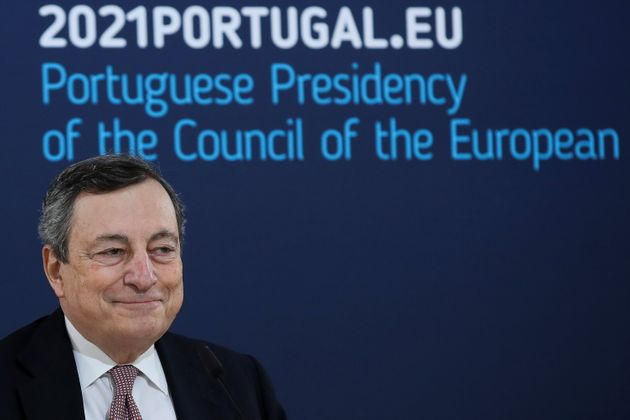 Italy's Prime Minister Mario Draghi speaks during a media conference at an EU summit in Porto, Portugal...
