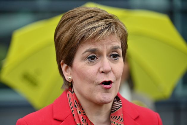 GLASGOW, SCOTLAND - MAY 08: First Minister Nicola Sturgeon and the newly elected MSP for Kelvin Kaukab...