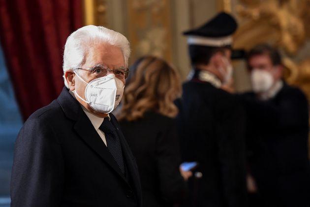 ROME, ITALY - JANUARY 27: Italian President Sergio Mattarella greets journalists before the consultations...