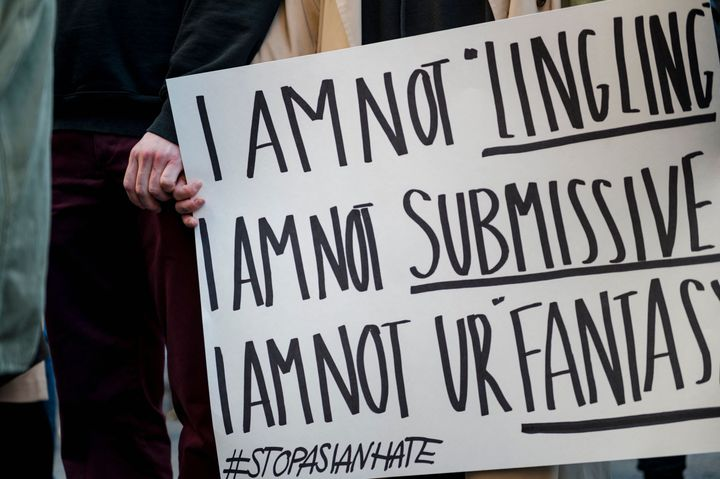 A demonstration against anti-Asian racism on March 21 in Montreal.