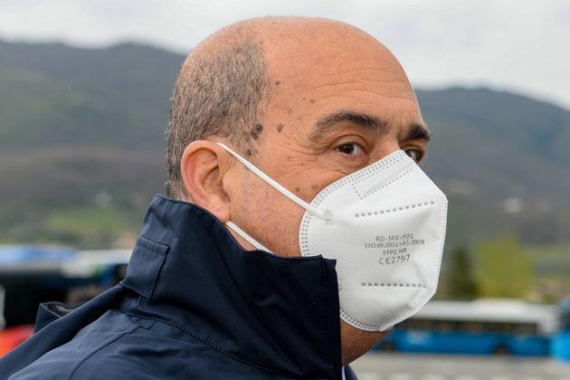 Lazio Region President Nicola Zingaretti, in Rieti, Italy, on April 15, 2021 for the delivery of eight...