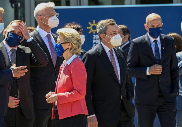 PORTO, PORTUGAL - MAY 08: President of the European Commission Ursula von der Leyen and Italian Prime...