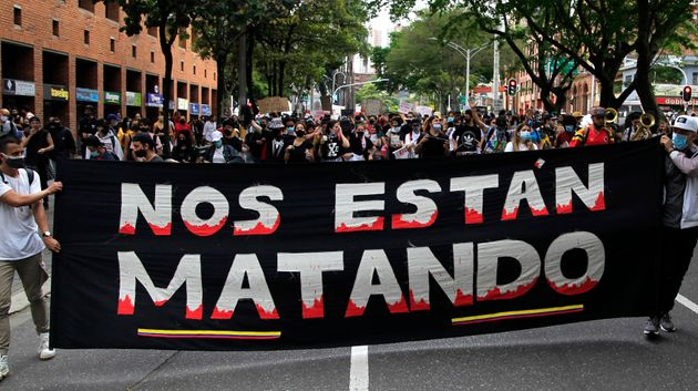 MEDELLIN, COLOMBIA - MAY 07: Activists take action during a new day of protests, on May 07, 2021 in Medellin,...