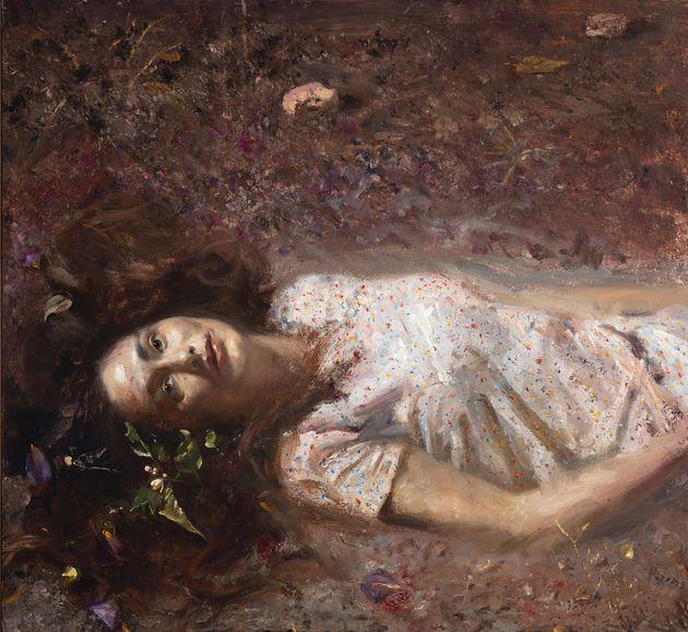 Γυναίκα ξαπλωμένη στο χώμα, 2018. Λάδι σε καμβά 60 X 65,5 εκ. Συλλογή Μπάμπη Ηλιόπουλου