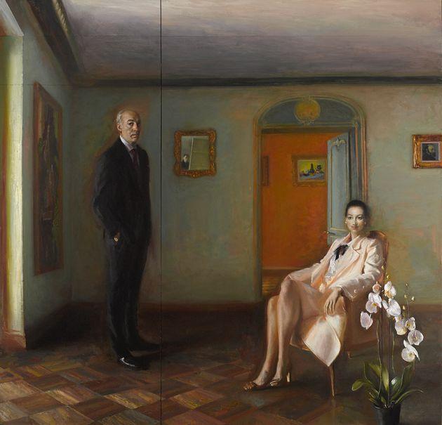 Πορτραίτο Βασίλη και Ελίζας Γουλανδρή,2017-2018. Λάδι σε καμβά, 262 X 273 εκ. Συλλογή Ιδρύματος Βασίλη και Ελίζας Γουλανδρή