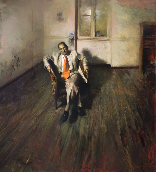 Πορτραίτο του Τάκη Πιτσελά με πορτοκαλί γραβάτα, 2005. Λάδι σε καμβά, 210 X 190 εκ. Ιδιωτική συλλογή