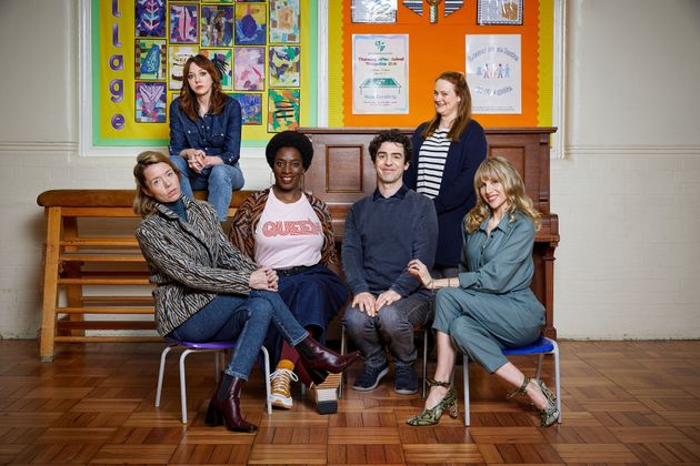 The cast of Motherland (L-R): Julia (Anna Maxwell Martin), Liz (Diane Morgan), Meg (Tanya Moodie), Kevin...