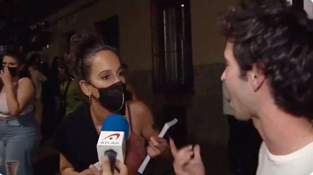 Chela Santalla le pide explicaciones a un joven sin mascarilla en pleno centro de