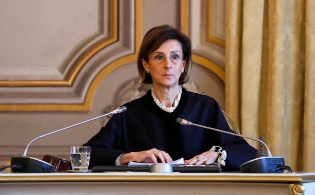 President of the Constitutional Court Marta Cartabia during the public hearing in the Constitutional...