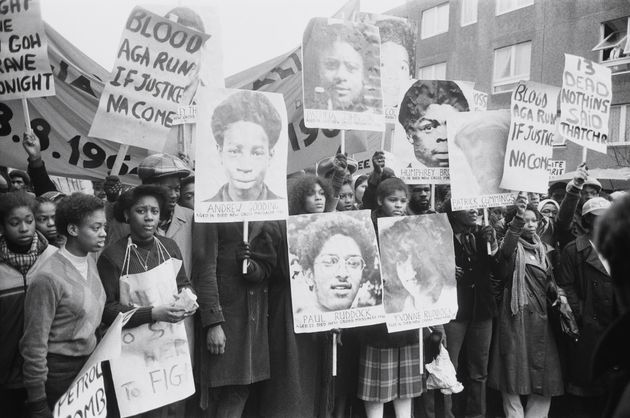 Protesters on the Black People's Day Of Action march in