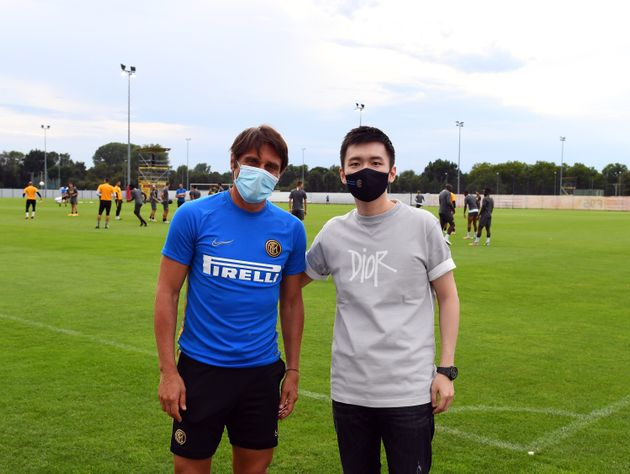 DUESSELDORF, GERMANY - AUGUST 16: President FC Internazionale Steven Zhang Kangyang and head coach FC...