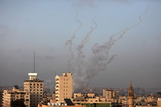 Rockets are launched by Palestinian militants into Israel, in Gaza May 10, 2021. (Photo by Majdi Fathi/NurPhoto...