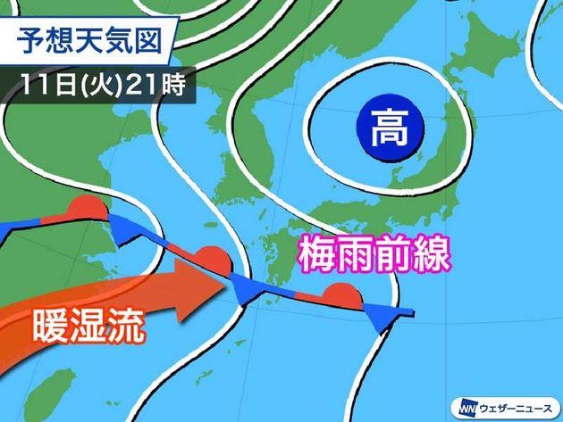 梅雨前線が九州まで北上。今夜以降は激しい雨に警戒