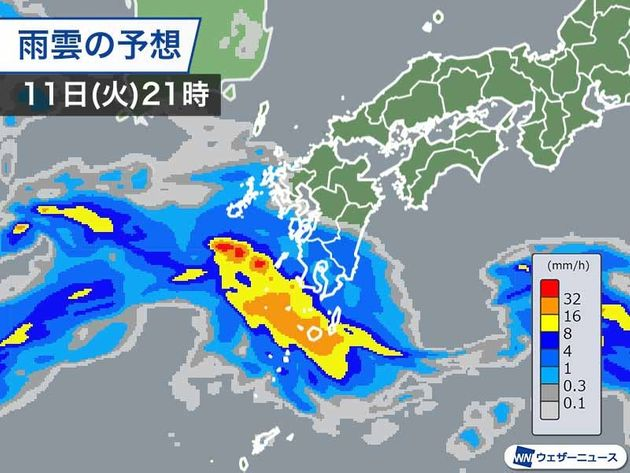 11日(火)夜の雨の予想
