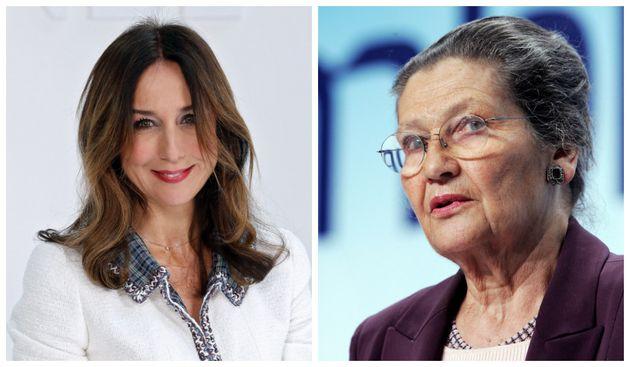 A gauche : l'actrice lors du défilé Automne-Hiver de Chanel à Paris en mars 2020. A droite : Simone Veil...