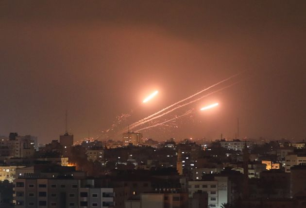 GAZA CITY, GAZA - MAY 11: Rockets are being fired from Gaza Strip towards different locations in Israel...