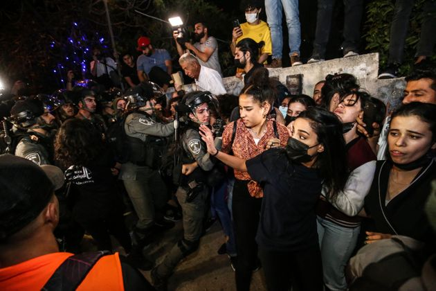 JERUSALEM - MAY 05: Israeli forces intervene in Palestinians during a demonstration at Sheikh Jarrah...