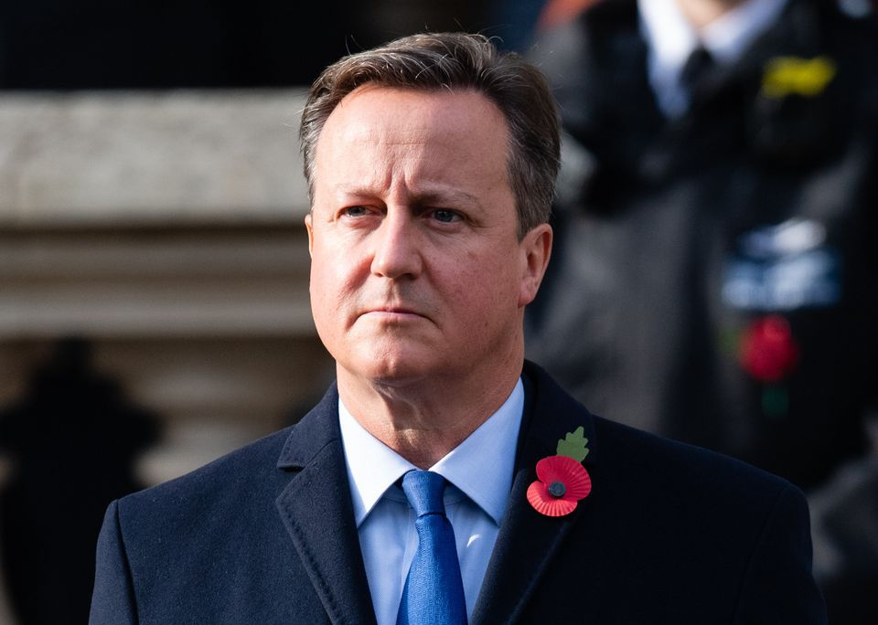 Cameron during the national service of remembrance at The Cenotaph on November 8, 2020, a few months...