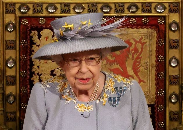Britain's Queen Elizabeth II waits to read the Queen's Speech on the The Sovereign's Throne in the House...