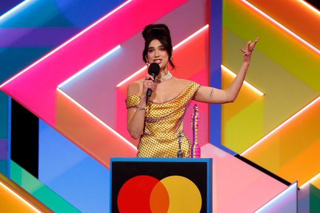 Dua Lipa receives the award for Best Female Solo Artist during The Brit Awards