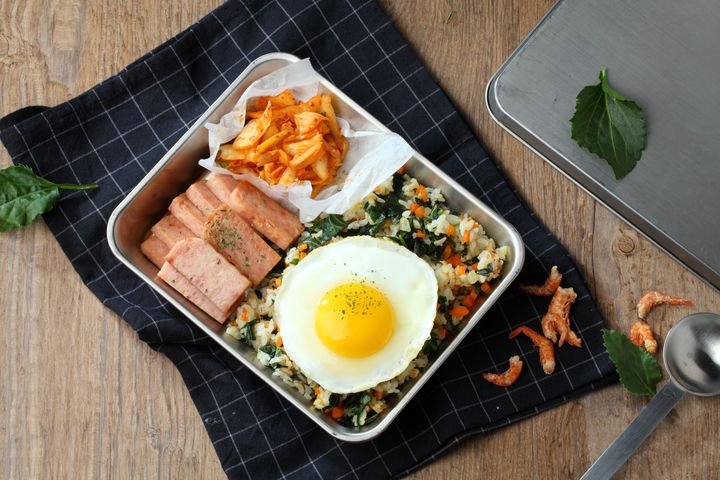 A traditional Korean lunch box of kimchi, Spam and fried rice, whichViv Lee ate for breakfast as a child.