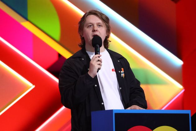 Lewis Capaldi on stage at the Brit Awards