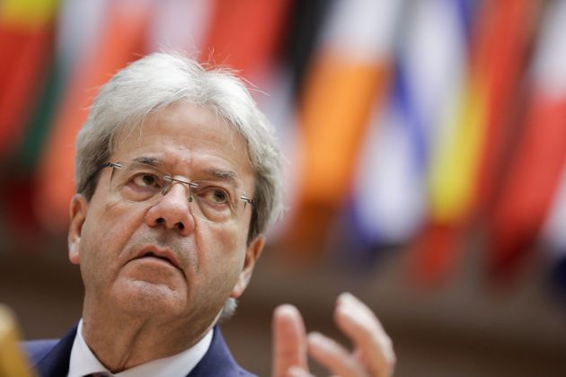 European Commissioner for Economy Paolo Gentiloni speaks during a plenary session of the European Parliament...