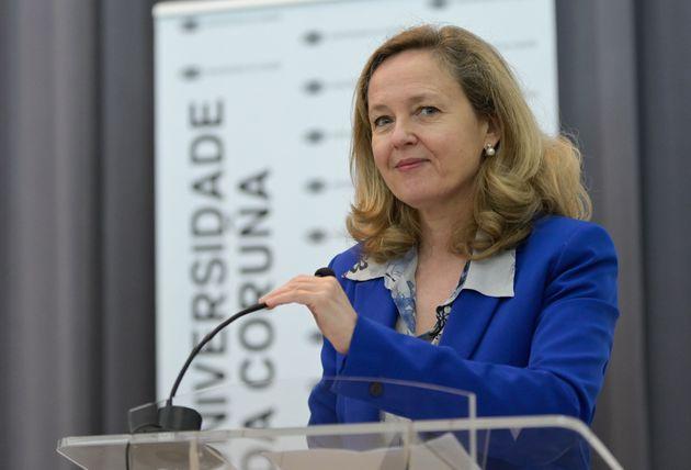 La vicepresidenta y Ministra de Asuntos Económicos, Nadia Calviño, en una conferencia en...