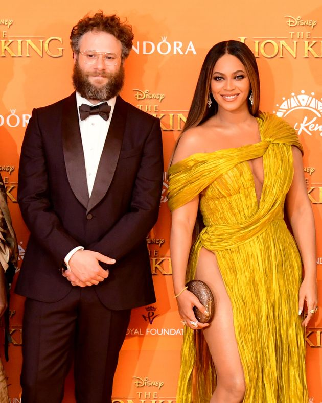 Seth Rogen and Beyoncé at The Lion King's European premiere in London in